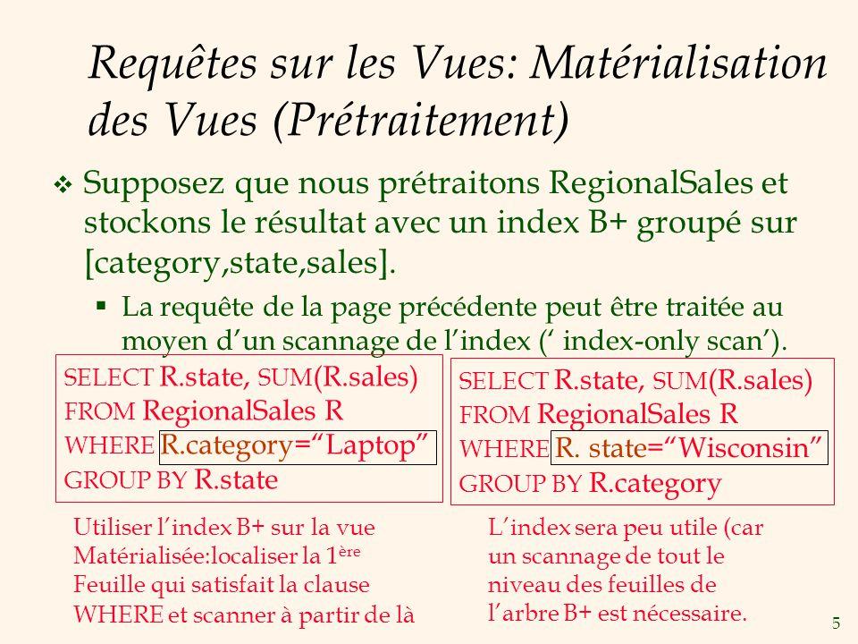 Requêtes sur les Vues: Matérialisation des Vues (Prétraitement)