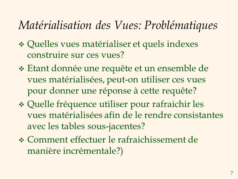 Matérialisation des Vues: Problématiques