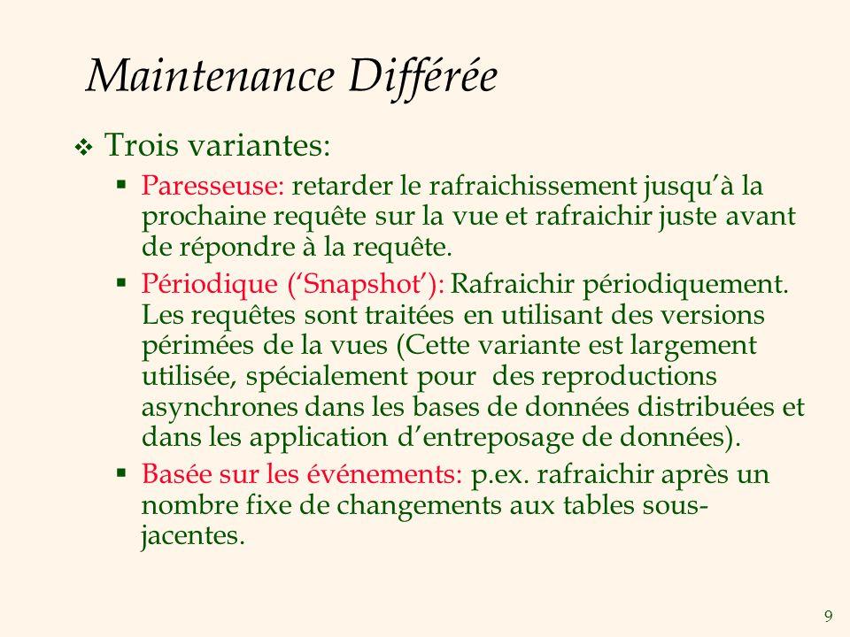 Maintenance Différée Trois variantes:
