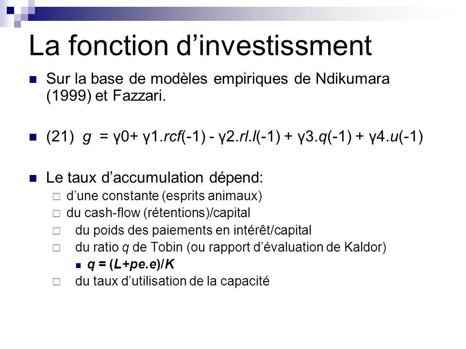 La fonction d'investissment