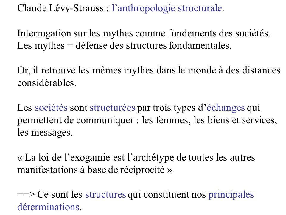 Claude Lévy-Strauss : l'anthropologie structurale.