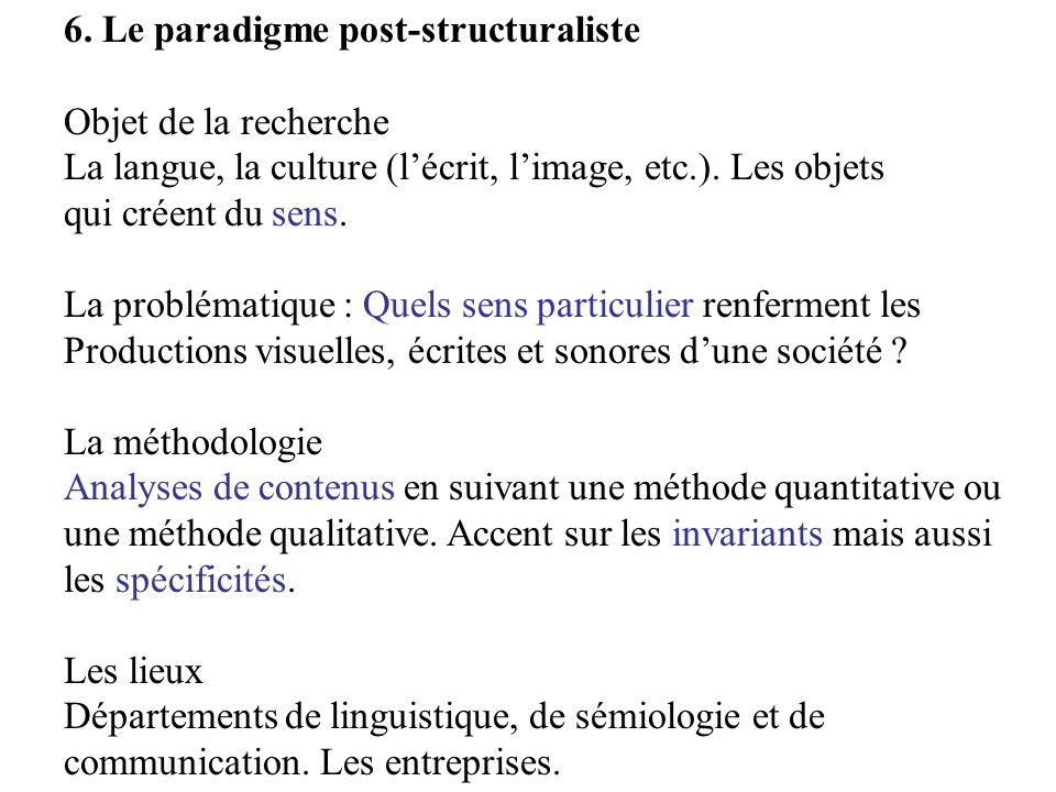 6. Le paradigme post-structuraliste