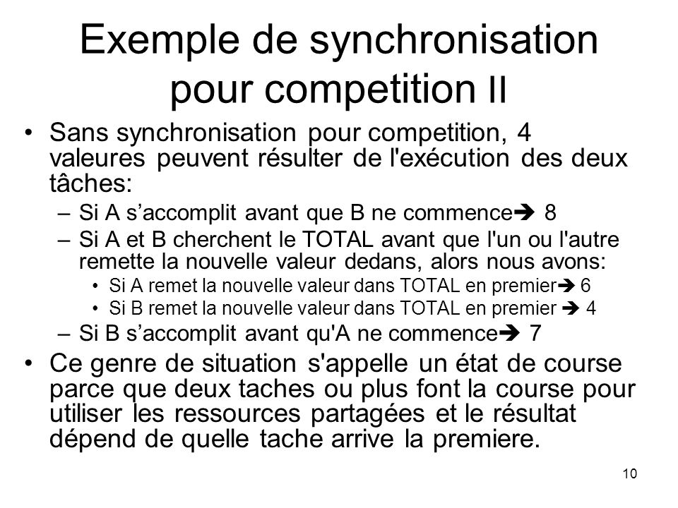 Exemple de synchronisation pour competition II
