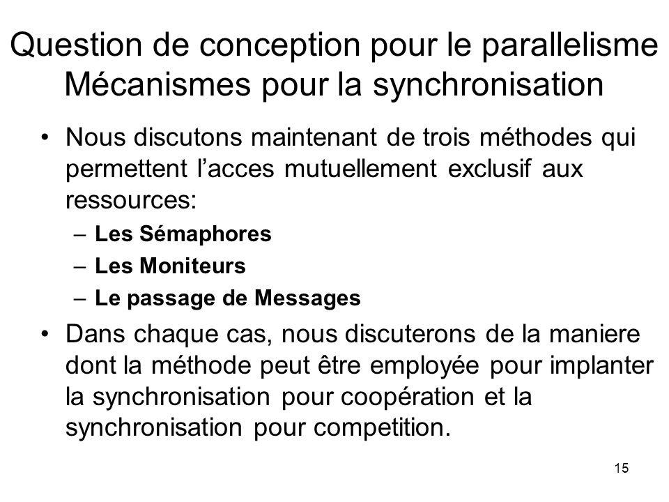 Question de conception pour le parallelisme Mécanismes pour la synchronisation