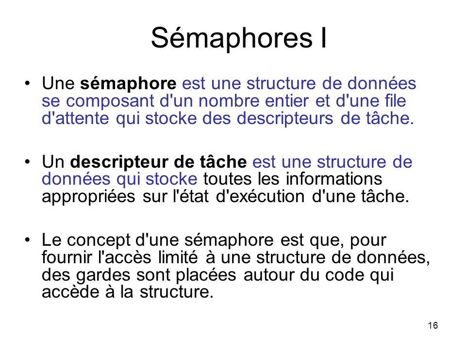 Sémaphores I Une sémaphore est une structure de données se composant d un nombre entier et d une file d attente qui stocke des descripteurs de tâche.