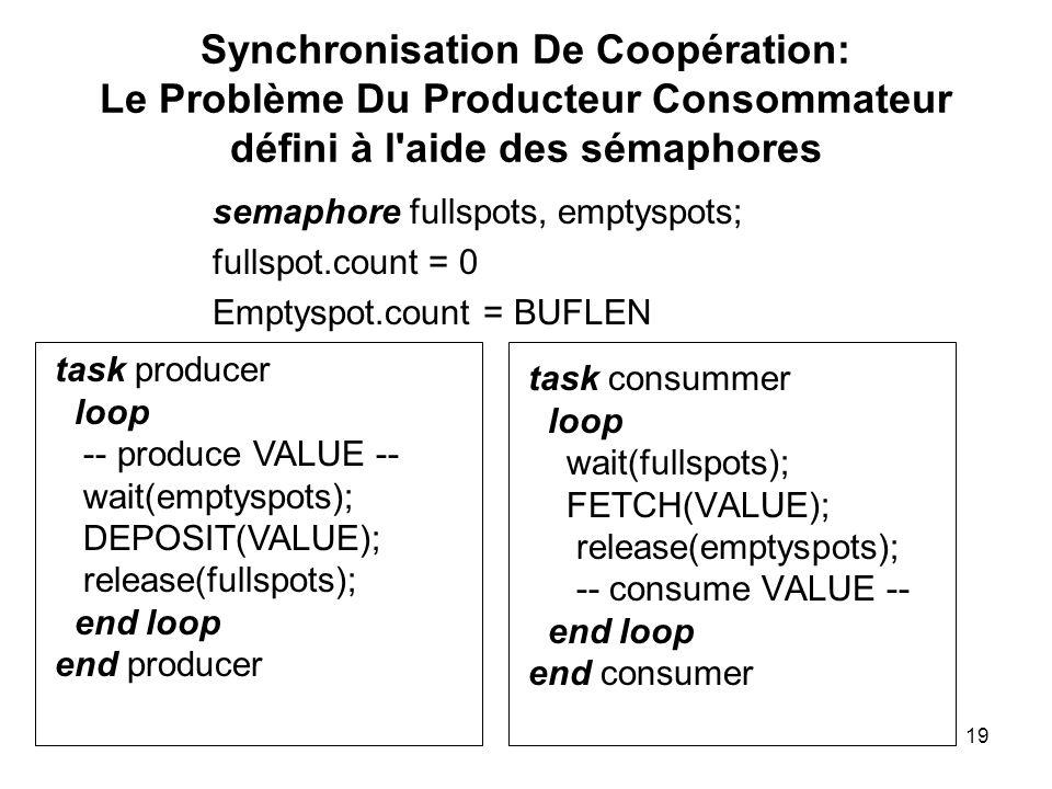 Synchronisation De Coopération: Le Problème Du Producteur Consommateur défini à l aide des sémaphores