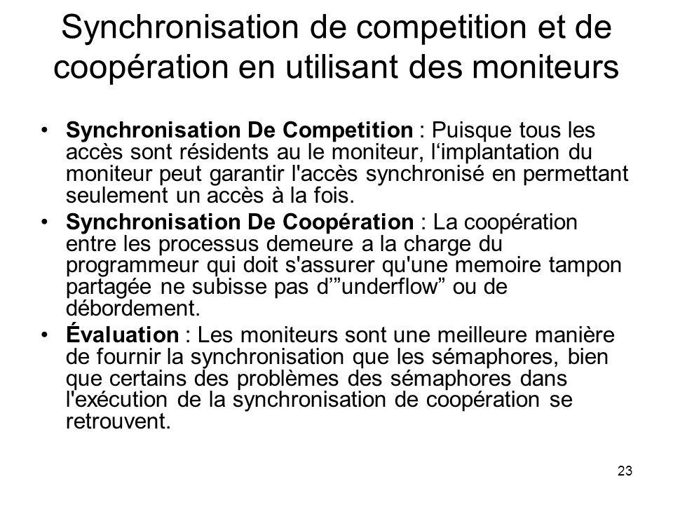 Synchronisation de competition et de coopération en utilisant des moniteurs