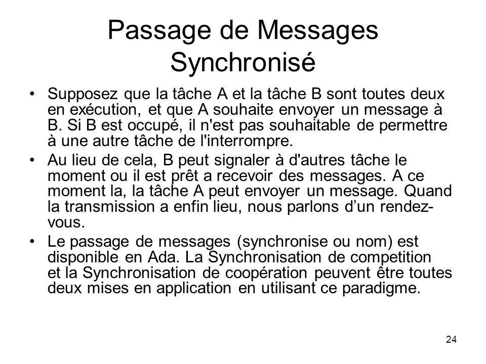 Passage de Messages Synchronisé