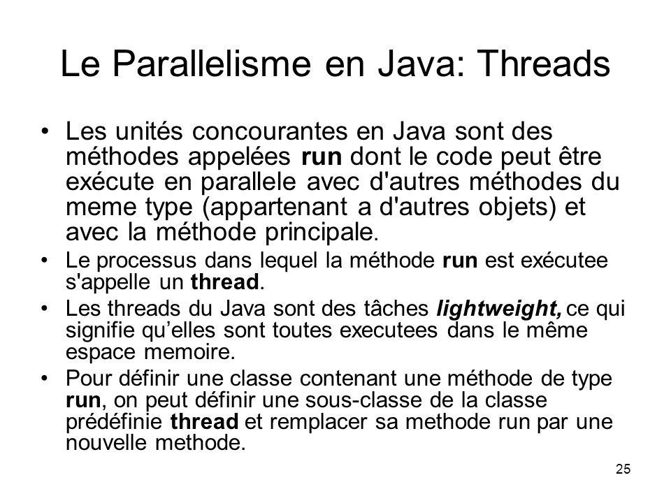 Le Parallelisme en Java: Threads