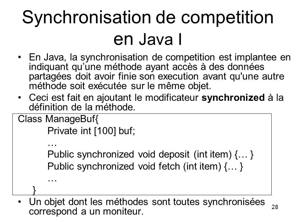 Synchronisation de competition en Java I