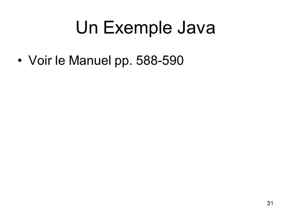 Un Exemple Java Voir le Manuel pp. 588-590