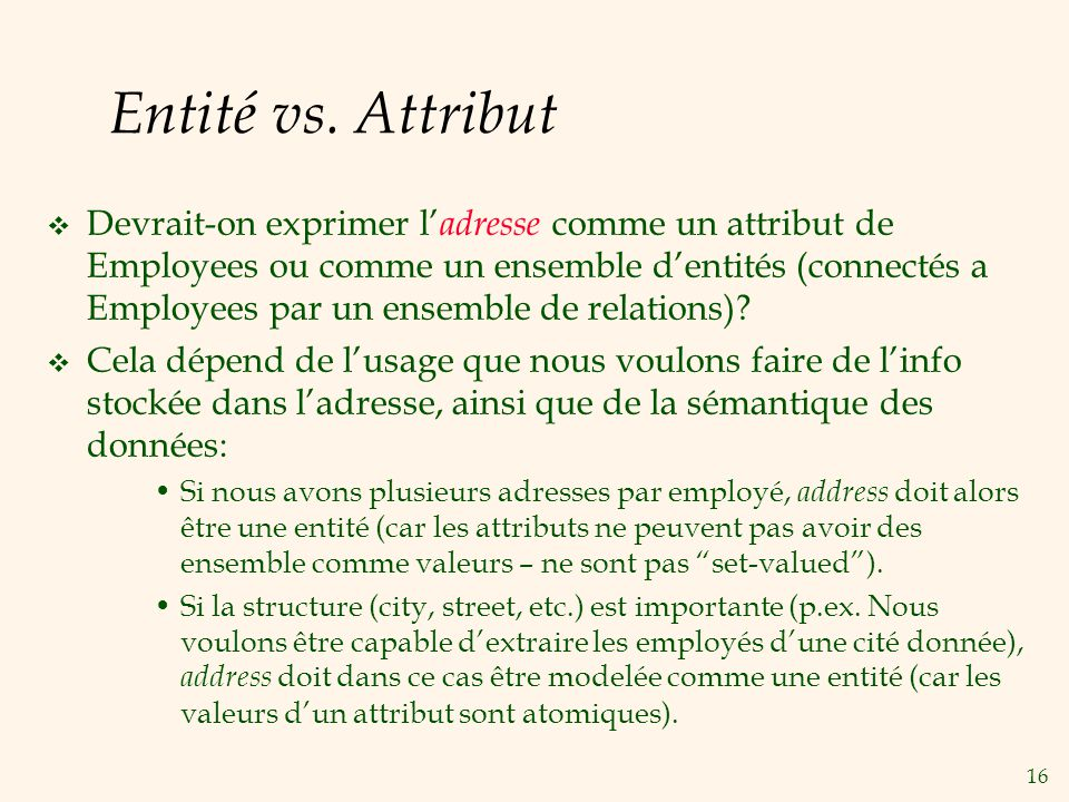 Entité vs. Attribut