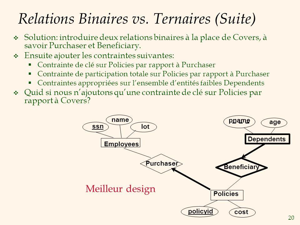 Relations Binaires vs. Ternaires (Suite)