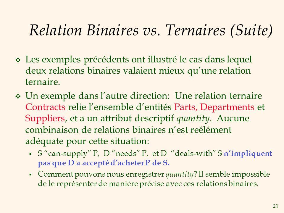 Relation Binaires vs. Ternaires (Suite)