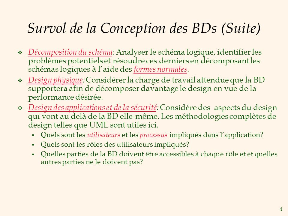 Survol de la Conception des BDs (Suite)