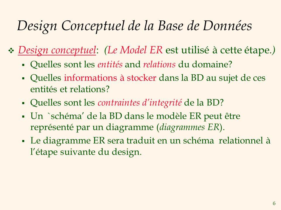 Design Conceptuel de la Base de Données