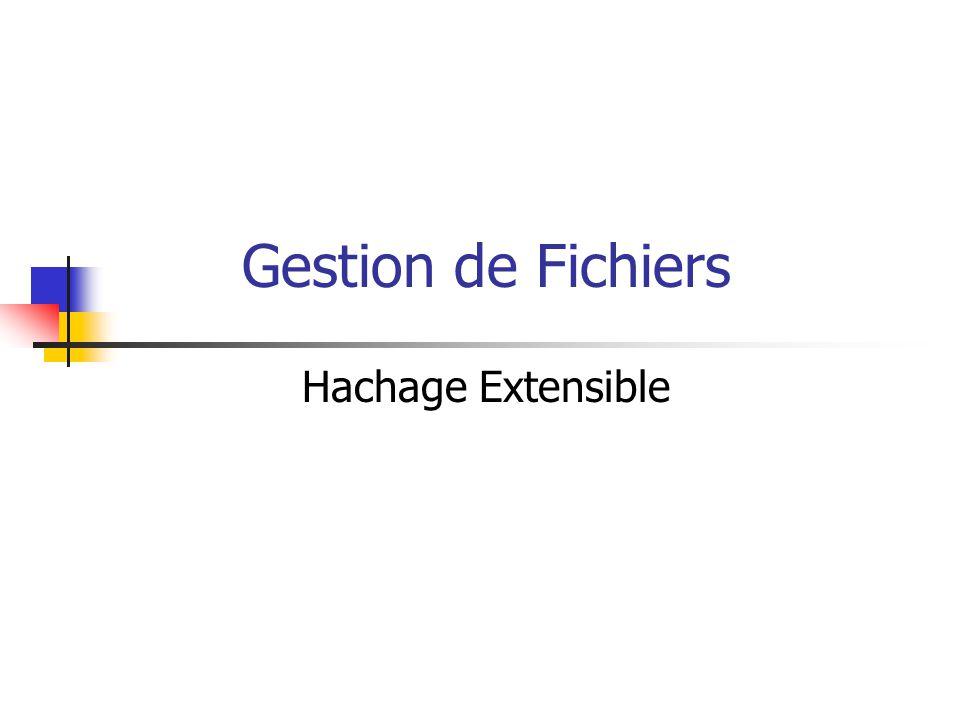 Gestion de Fichiers Hachage Extensible