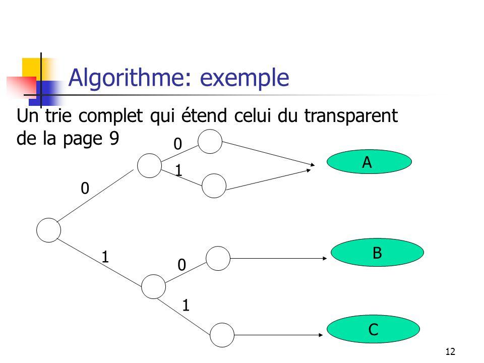Algorithme: exemple Un trie complet qui étend celui du transparent