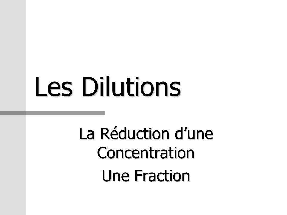 La Réduction d'une Concentration Une Fraction