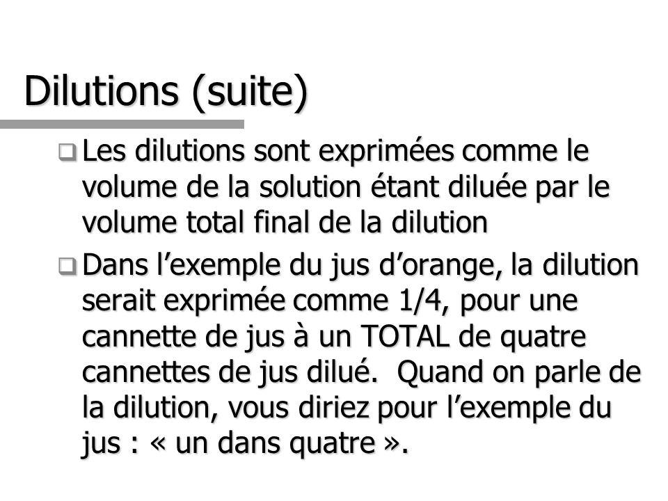 Dilutions (suite) Les dilutions sont exprimées comme le volume de la solution étant diluée par le volume total final de la dilution.
