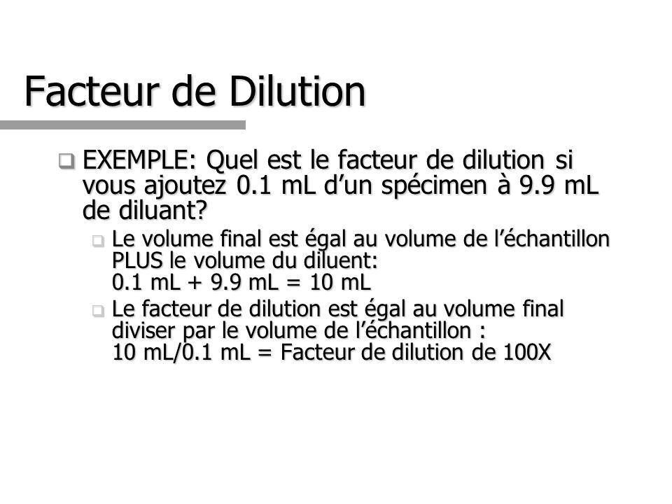 Facteur de Dilution EXEMPLE: Quel est le facteur de dilution si vous ajoutez 0.1 mL d'un spécimen à 9.9 mL de diluant