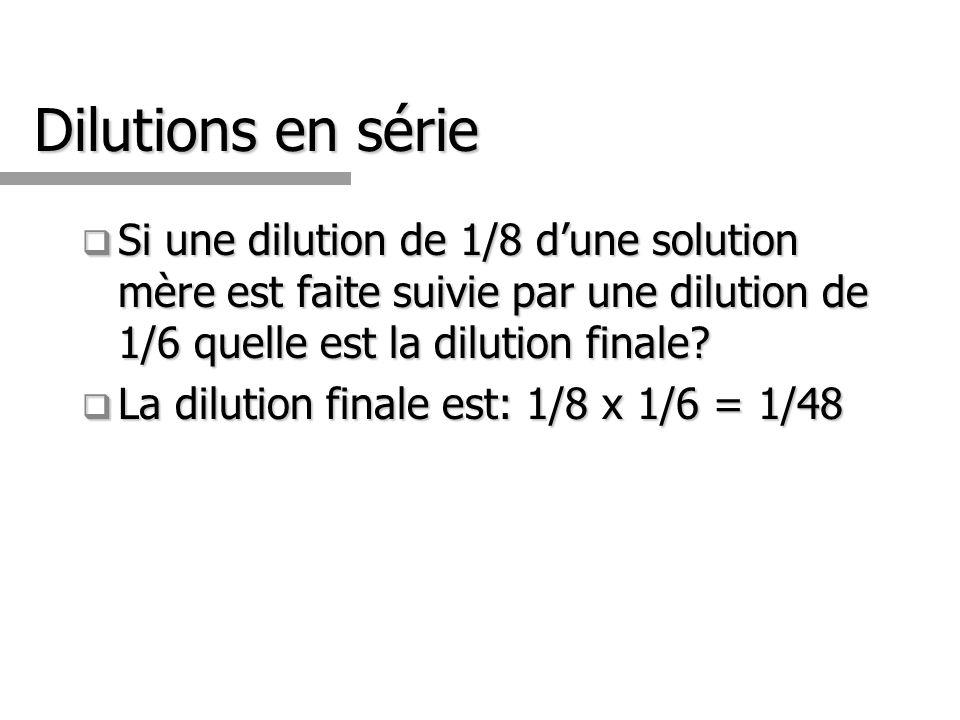 Dilutions en série Si une dilution de 1/8 d'une solution mère est faite suivie par une dilution de 1/6 quelle est la dilution finale