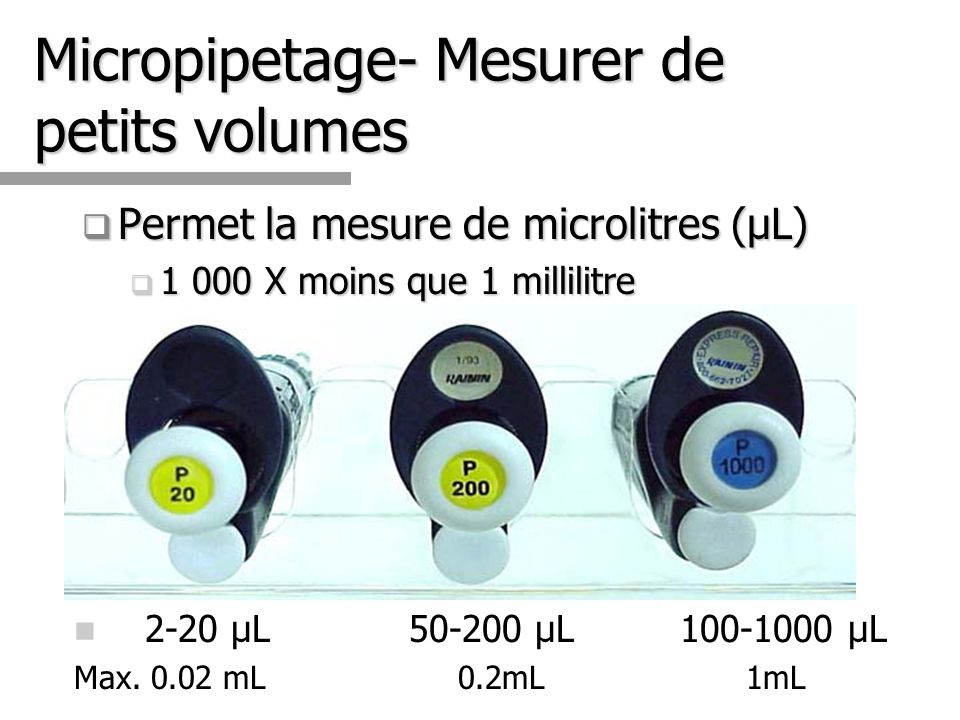 Micropipetage- Mesurer de petits volumes