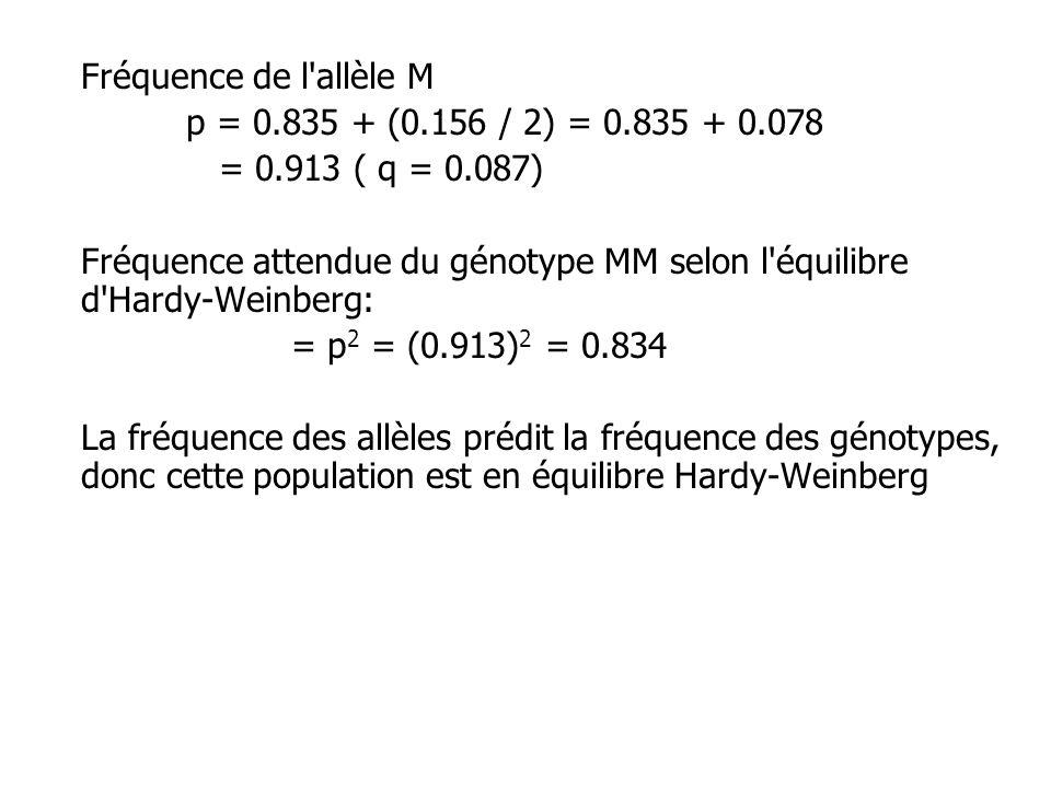 Fréquence de l allèle M p = 0.835 + (0.156 / 2) = 0.835 + 0.078. = 0.913 ( q = 0.087)