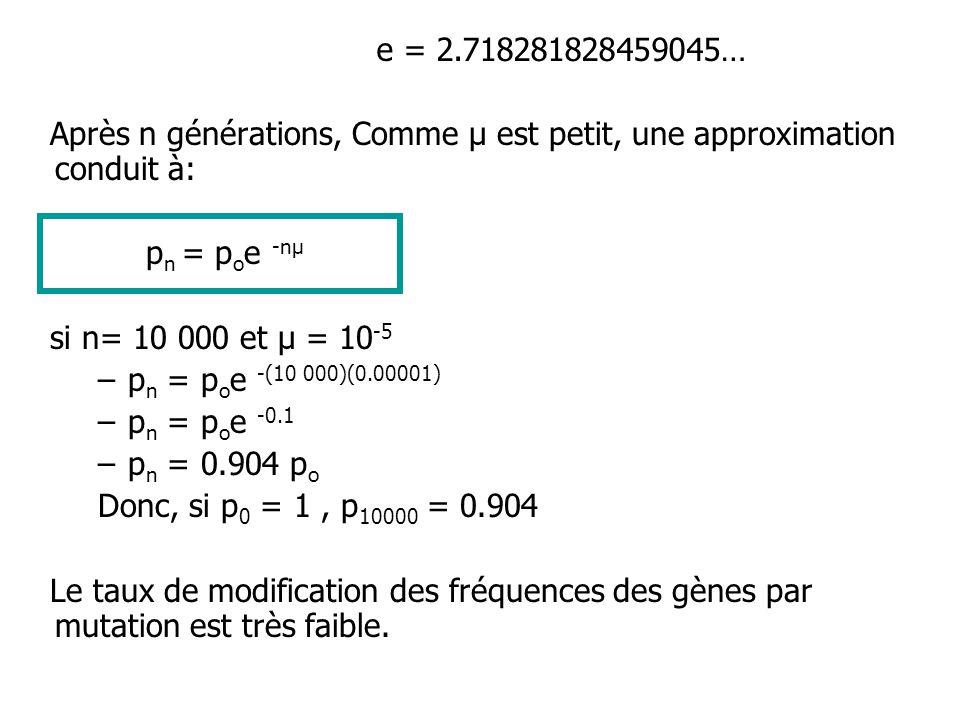 e = 2.718281828459045… Après n générations, Comme µ est petit, une approximation conduit à: pn = poe -nµ.