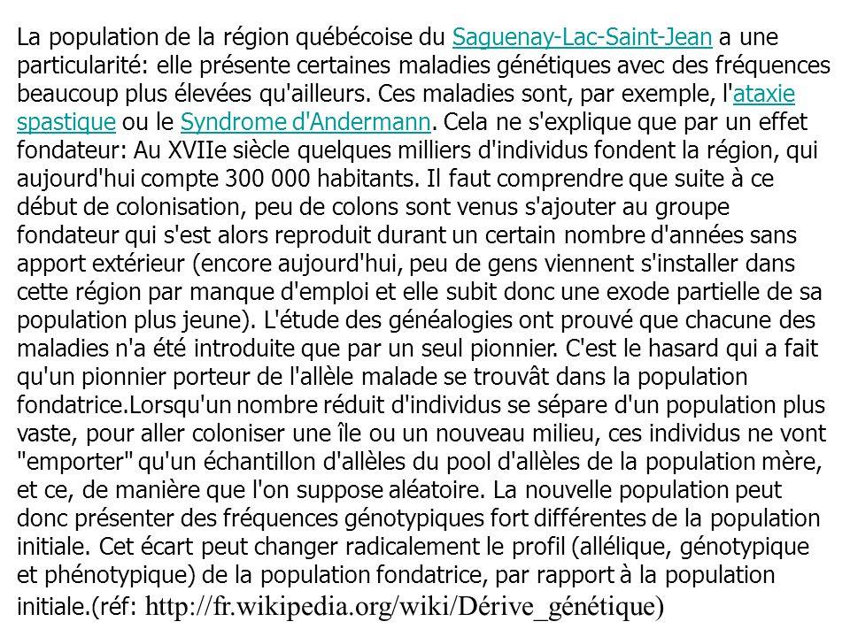 La population de la région québécoise du Saguenay-Lac-Saint-Jean a une particularité: elle présente certaines maladies génétiques avec des fréquences beaucoup plus élevées qu ailleurs.