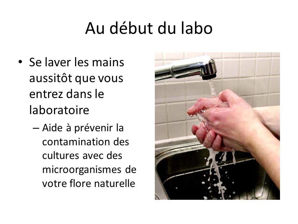 Au début du labo Se laver les mains aussitôt que vous entrez dans le laboratoire.
