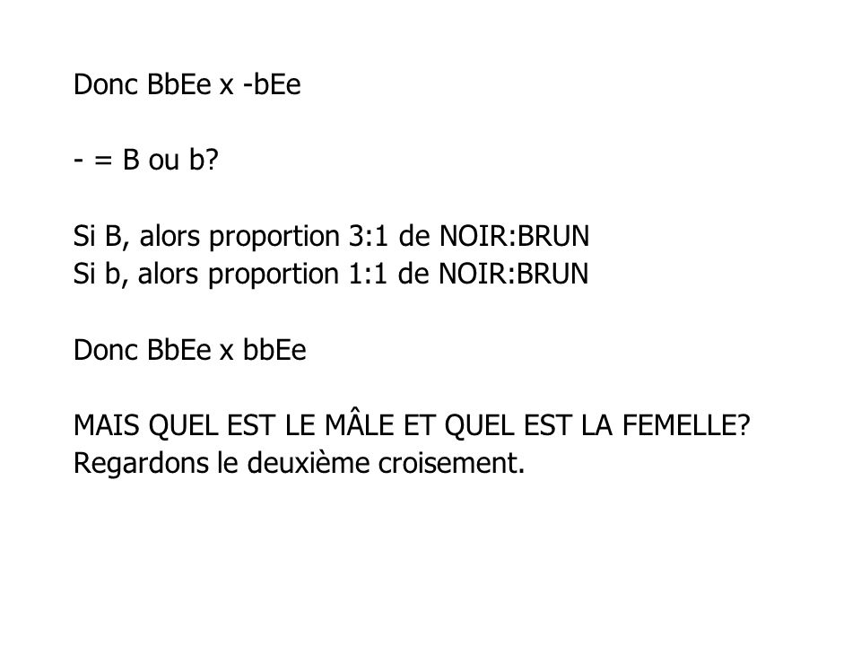 Donc BbEe x -bEe - = B ou b Si B, alors proportion 3:1 de NOIR:BRUN. Si b, alors proportion 1:1 de NOIR:BRUN.