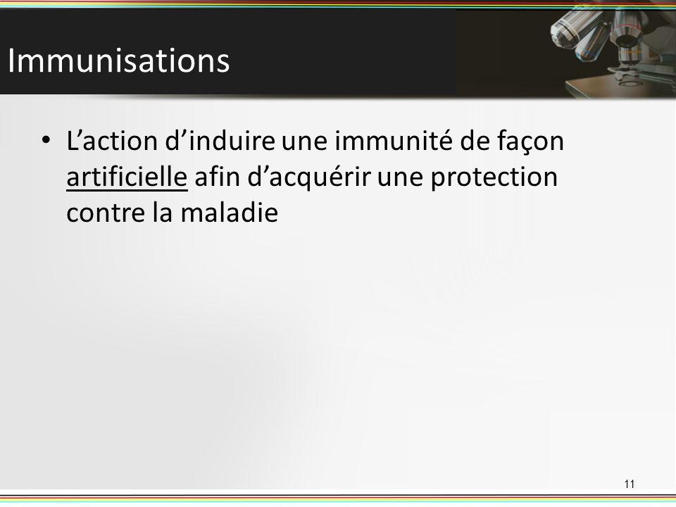 Immunisations L'action d'induire une immunité de façon artificielle afin d'acquérir une protection contre la maladie.
