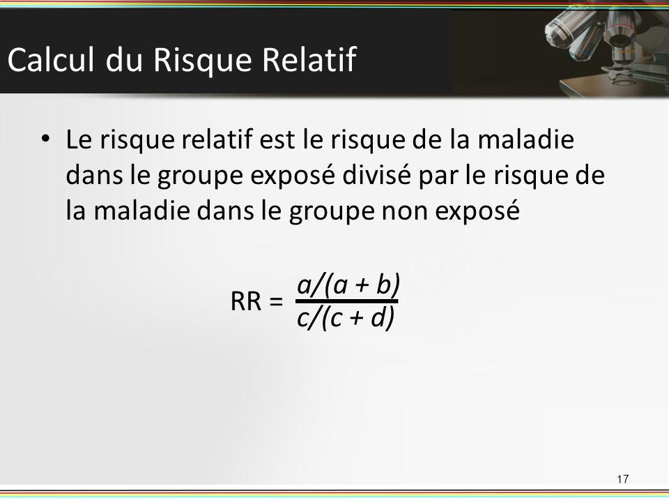 Calcul du Risque Relatif