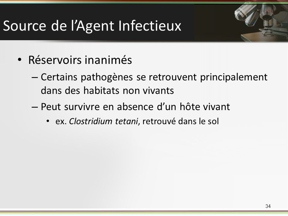 Source de l'Agent Infectieux