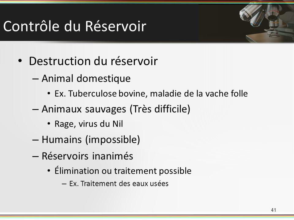 Contrôle du Réservoir Destruction du réservoir Animal domestique