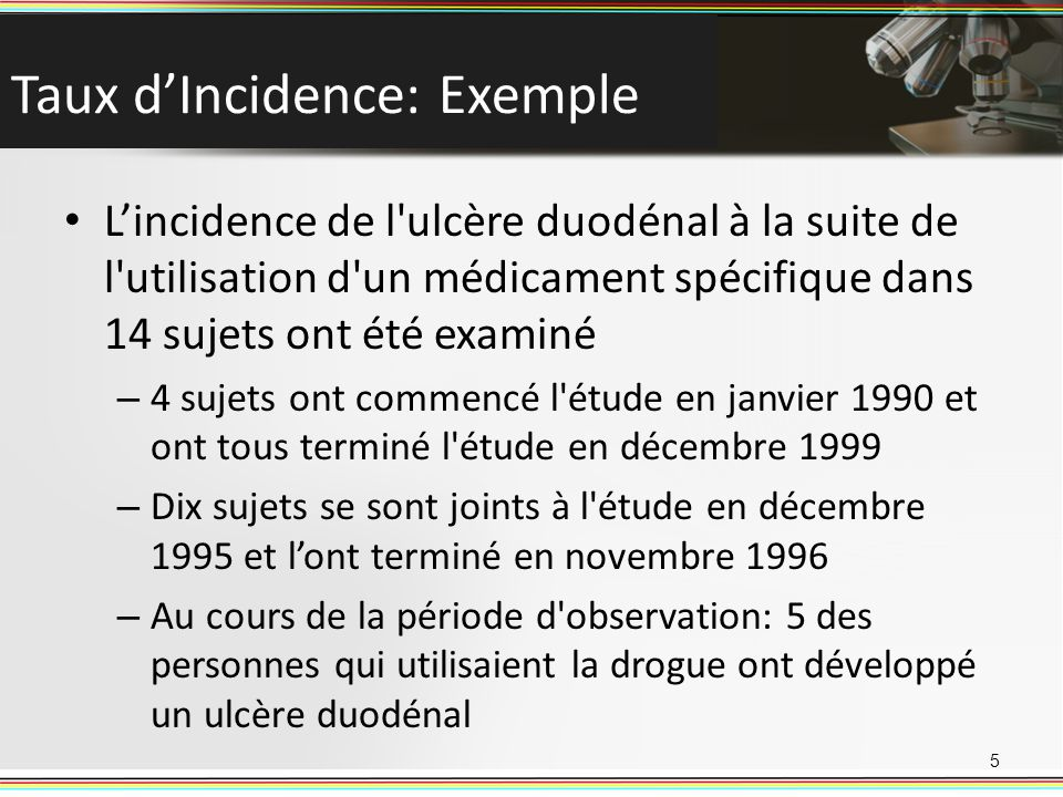 Taux d'Incidence: Exemple