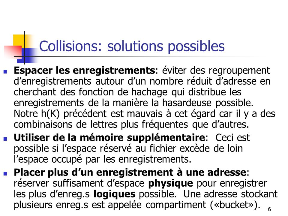 Collisions: solutions possibles