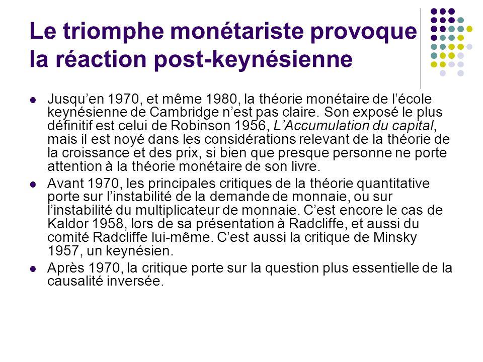 Le triomphe monétariste provoque la réaction post-keynésienne