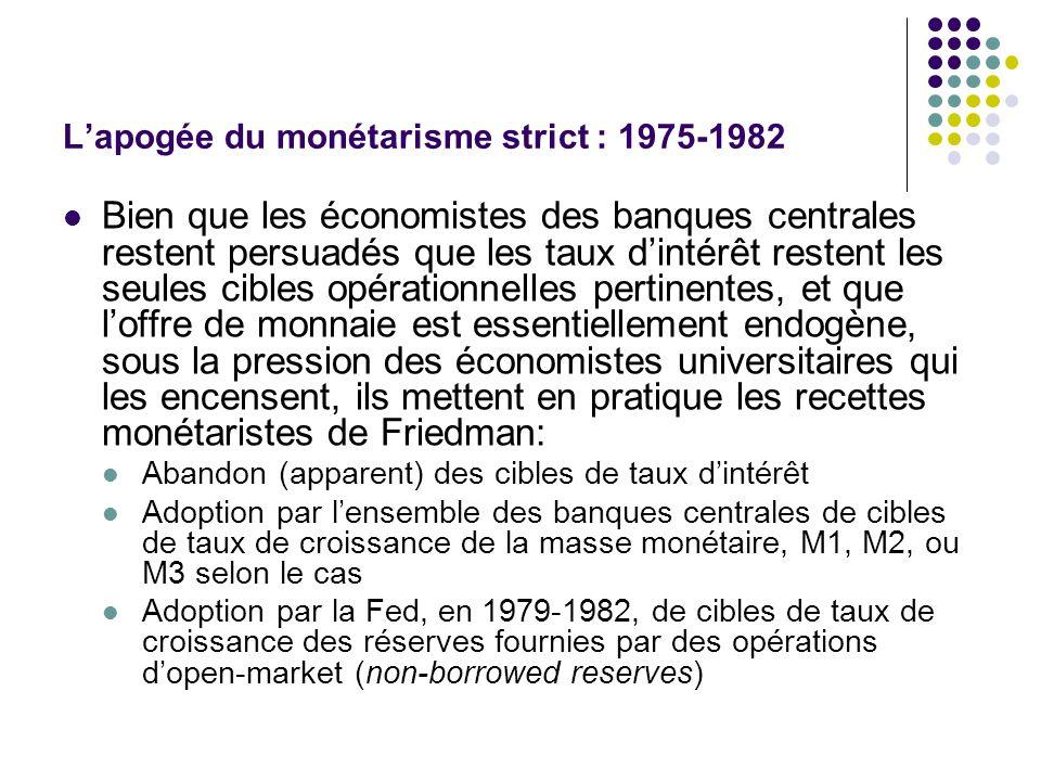 L'apogée du monétarisme strict : 1975-1982