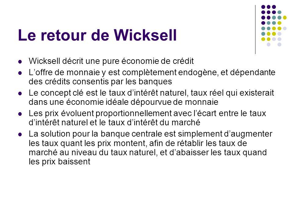 Le retour de Wicksell Wicksell décrit une pure économie de crédit
