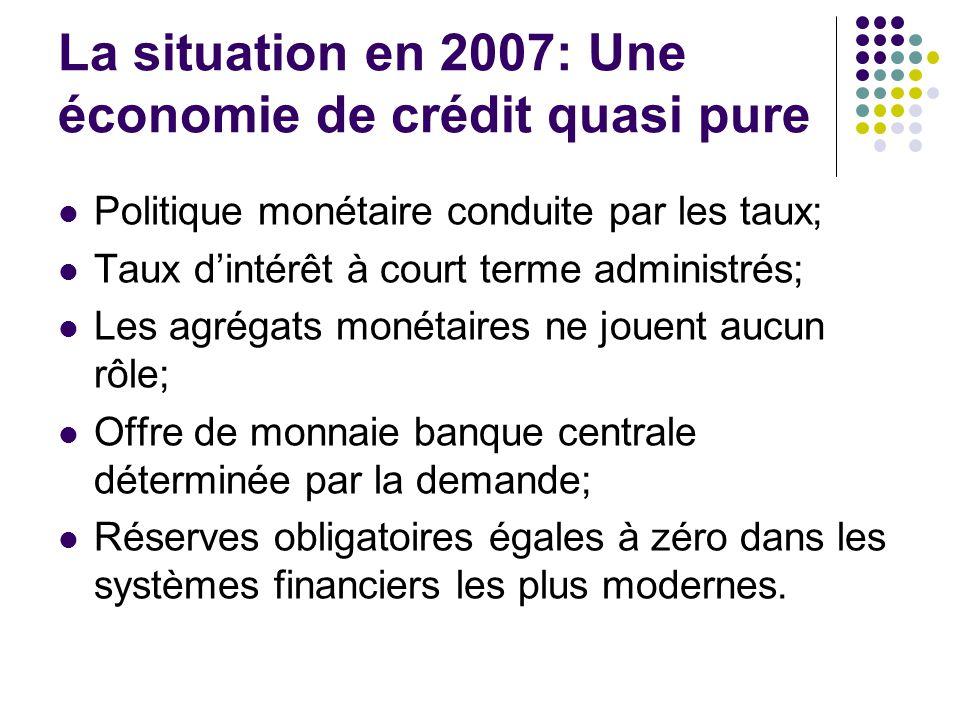 La situation en 2007: Une économie de crédit quasi pure