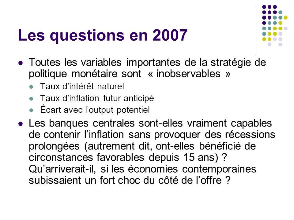 Les questions en 2007 Toutes les variables importantes de la stratégie de politique monétaire sont « inobservables »