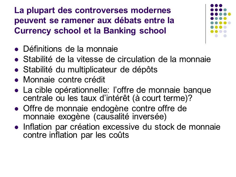 La plupart des controverses modernes peuvent se ramener aux débats entre la Currency school et la Banking school
