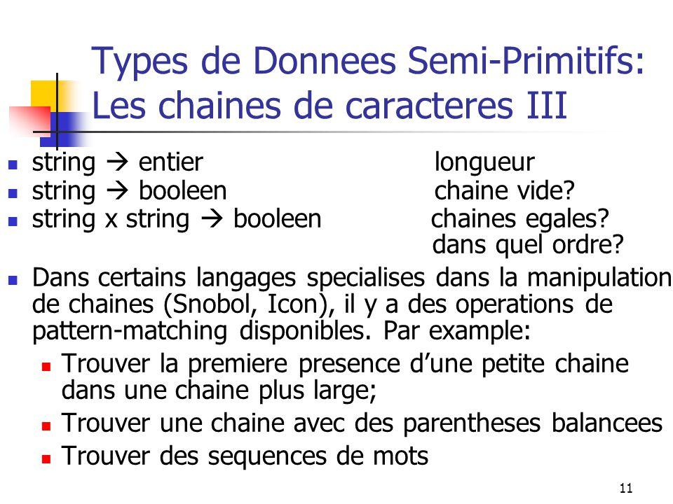 Types de Donnees Semi-Primitifs: Les chaines de caracteres III