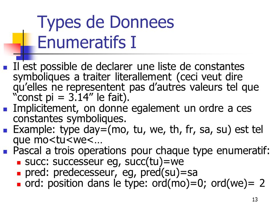 Types de Donnees Enumeratifs I