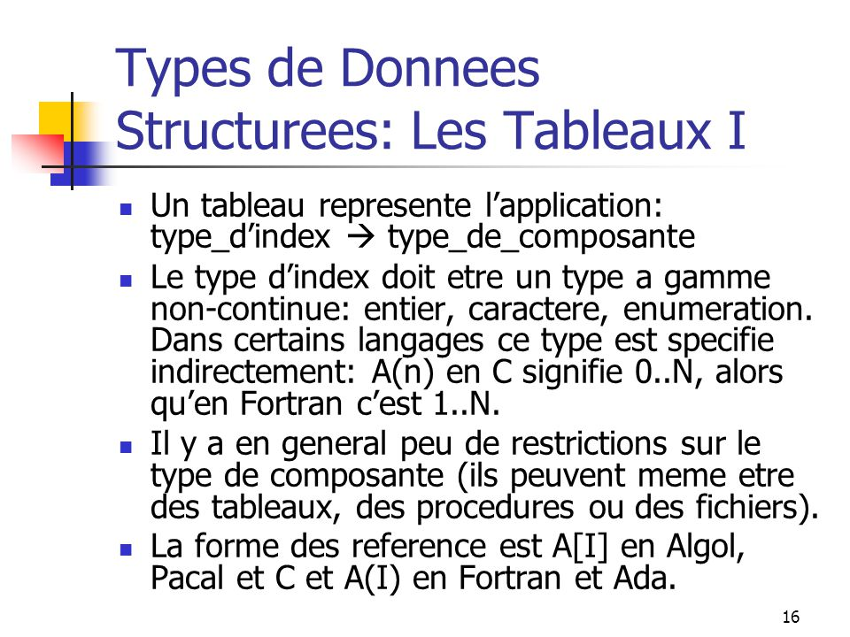 Types de Donnees Structurees: Les Tableaux I