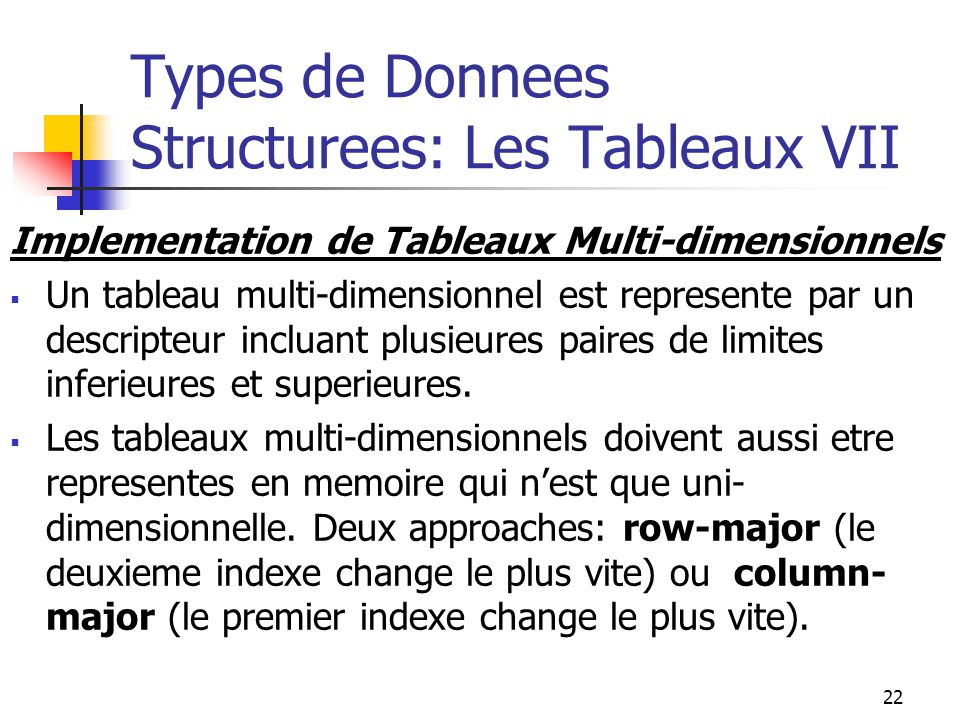 Types de Donnees Structurees: Les Tableaux VII