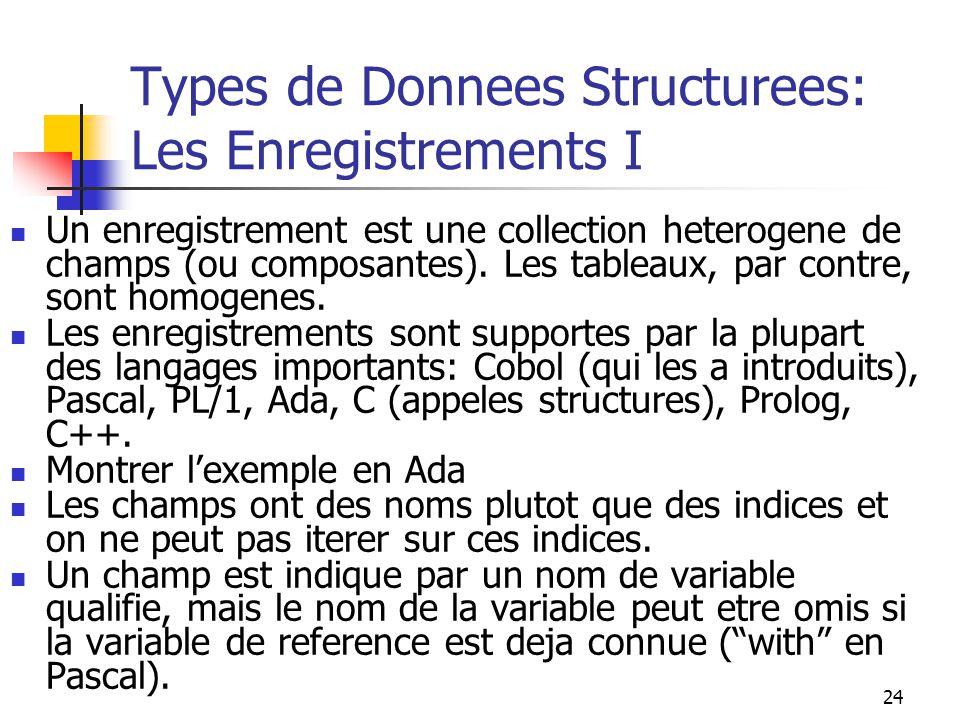 Types de Donnees Structurees: Les Enregistrements I