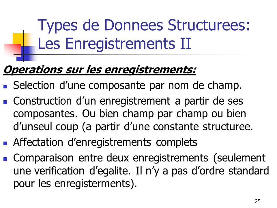 Types de Donnees Structurees: Les Enregistrements II